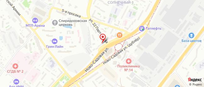 Карта расположения пункта доставки Самара 22 Партсъезда в городе Самара