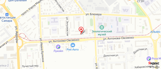 Карта расположения пункта доставки Самара Антонова-Овсеенко в городе Самара