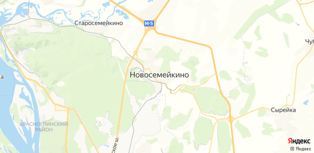 Новосемейкино на карте