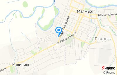 Местоположение на карте пункта техосмотра по адресу Кировская обл, г Малмыж, ул Суровцева, д 65