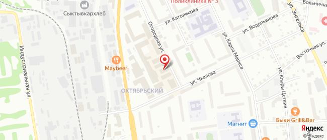 Карта расположения пункта доставки Сыктывкар Огородная в городе Сыктывкар