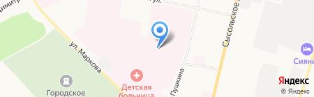 Коми республиканская больница на карте Сыктывкара