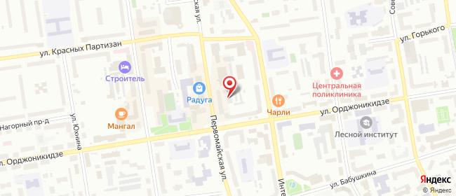 Карта расположения пункта доставки Сыктывкар Первомайская в городе Сыктывкар