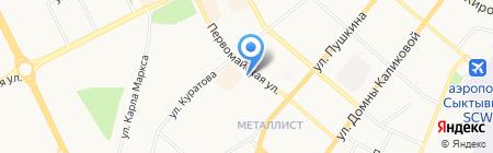 Метелица на карте Сыктывкара