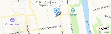 Север на карте Сыктывкара