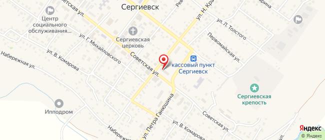 Карта расположения пункта доставки Ростелеком в городе Сергиевск
