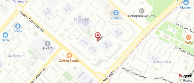 Карта расположения пункта доставки Нижнекамск Химиков в городе Нижнекамск