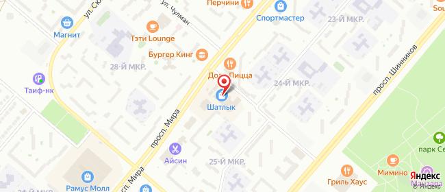 Карта расположения пункта доставки Нижнекамск Мира в городе Нижнекамск