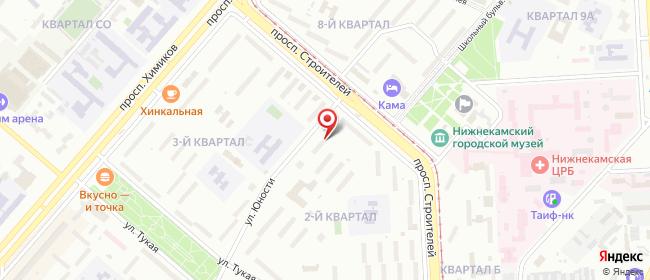 Карта расположения пункта доставки Нижнекамск Юности в городе Нижнекамск