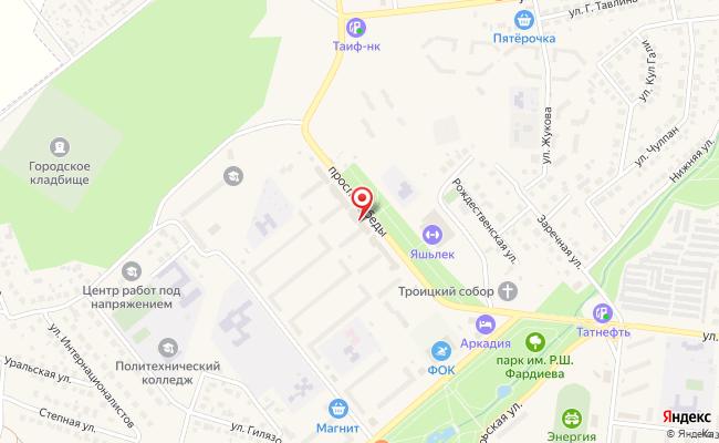 Карта расположения пункта доставки Билайн в городе Заинск