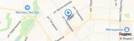 Магазин тканей на ул. Радищева на карте Альметьевска