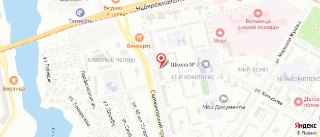 Карта расположения пункта доставки Набережные Челны Сармановский в городе Набережные Челны
