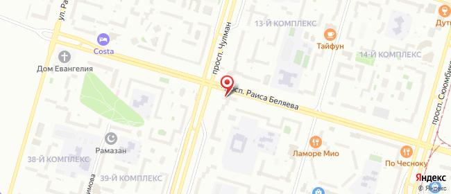 Карта расположения пункта доставки Набережные Челны Раиса Беляева в городе Набережные Челны