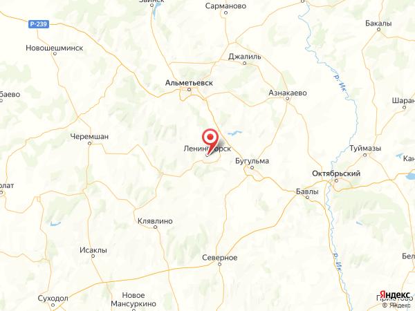 Лениногорск на карте