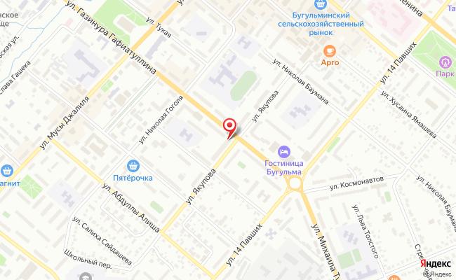 Карта расположения пункта доставки Westfalika в городе Бугульма