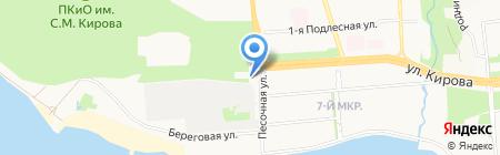 Автостоянка на ул. Песочной на карте Ижевска
