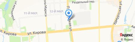 Тегола-Казань на карте Ижевска