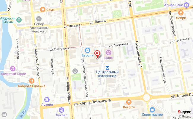 Карта расположения пункта доставки Билайн в городе Ижевск