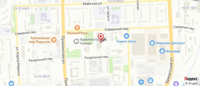Карта расположения пункта доставки Ростелеком в городе Ижевск