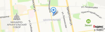 Желтая подводная лодка на карте Ижевска