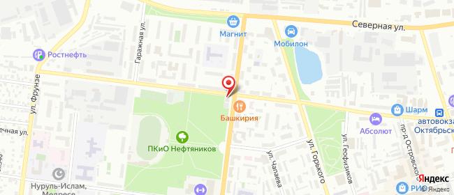 Карта расположения пункта доставки Октябрьский Девонская в городе Октябрьский
