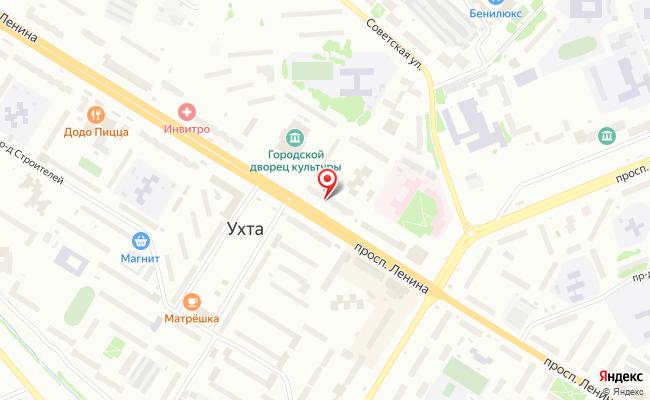 Карта расположения пункта доставки Ухта Ленина в городе Ухта