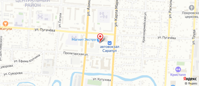 Карта расположения пункта доставки На Азина в городе Сарапул