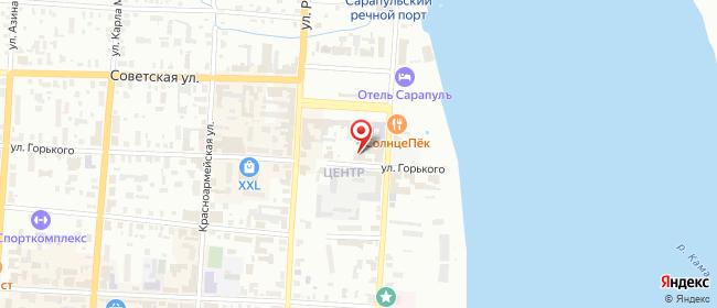 Карта расположения пункта доставки Сарапул Горького в городе Сарапул