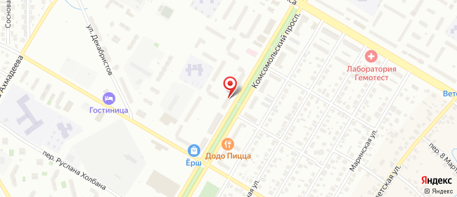 Карта расположения пункта доставки Нефтекамск Комсомольский в городе Нефтекамск