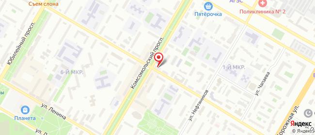 Карта расположения пункта доставки Билайн в городе Нефтекамск