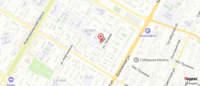 Карта расположения пункта доставки Нефтекамск Чапаева в городе Нефтекамск