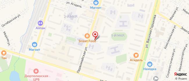 Карта расположения пункта доставки Билайн в городе Дюртюли