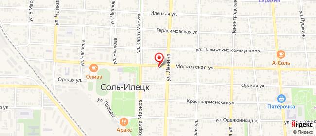 Карта расположения пункта доставки На Московской в городе Соль-Илецк