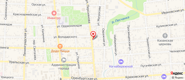 Карта расположения пункта доставки Соль-Илецк Персиянова в городе Соль-Илецк