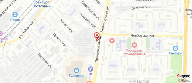 Карта расположения пункта доставки Оренбург Пролетарская в городе Оренбург