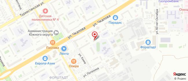Карта расположения пункта доставки Оренбург Чкалова в городе Оренбург