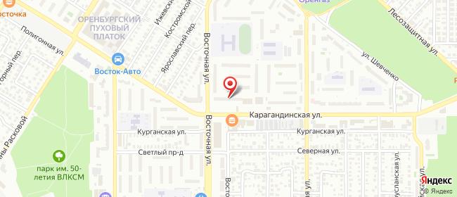 Карта расположения пункта доставки Оренбург Карагандинская в городе Оренбург