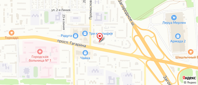 Карта расположения пункта доставки Оренбург Гагарина в городе Оренбург