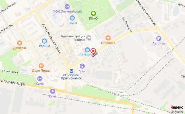 Карта расположения пункта доставки Ваша Экология в городе Краснокамск