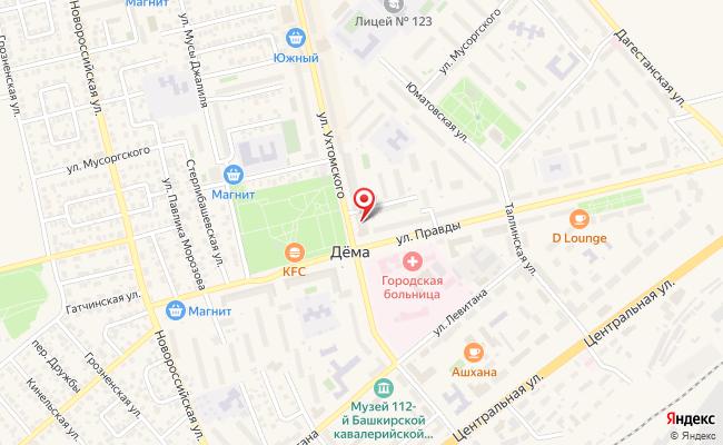 Карта расположения пункта доставки Уфа Ухтомского в городе Уфа