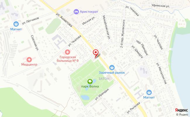 Карта расположения пункта доставки Уфа Ахметова в городе Уфа