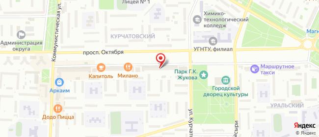 Карта расположения пункта доставки Стерлитамак Октября в городе Стерлитамак