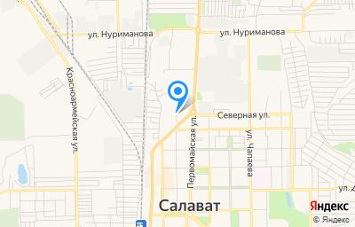 Местоположение на карте пункта техосмотра по адресу Респ Башкортостан, г Салават, ул Уфимская, зд 9