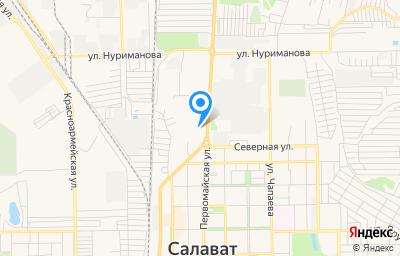 Местоположение на карте пункта техосмотра по адресу Респ Башкортостан, г Салават, ул Первомайская, зд 51