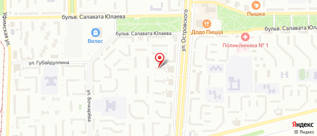 Карта расположения пункта доставки Салават Островского в городе Салават