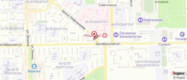 Карта расположения пункта доставки Ростелеком в городе Салават