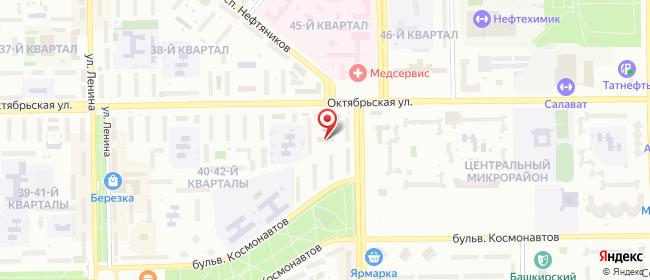 Карта расположения пункта доставки Салават Октябрьская в городе Салават