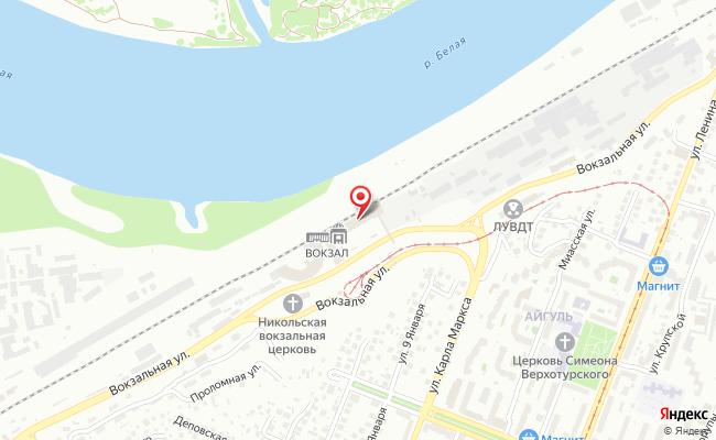 Карта расположения пункта доставки Уфа Привокзальная в городе Уфа