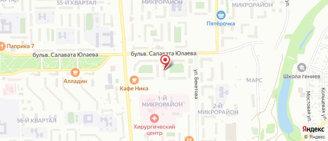 Карта расположения пункта доставки Салават Юлаева в городе Салават