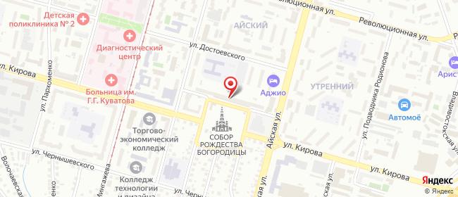 Карта расположения пункта доставки Уфа Кирова в городе Уфа